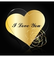 Gold and glass hearts with flower vector image