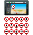 GPS navigator with the pointer supermarket vector image vector image