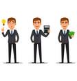 handsome banker in business suit vector image vector image