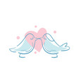 happy valentine day icon with kissing birds vector image vector image