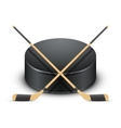 Ice Hockey puck and sticks vector image