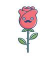 kawaii funny mustache rose flower vector image vector image