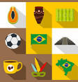 landmarks of brazil icon set flat style vector image vector image