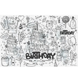 large set hand drawn doodles to birthday vector image