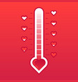 love thermometer hot or frozen heart temperature vector image vector image