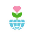 love tree on globe or planet earth icon flat vector image vector image