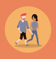 man and woman couple walking vector image vector image