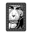 monkeyape black and white hand drawing vector image vector image