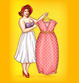 overweight woman tailor pointing at dress vector image vector image