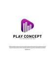 play media city logo design concept stats play vector image vector image