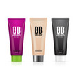 realistic 3d empty template bb cream tubes package vector image
