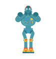 robot scared omg cyborg oh my god emoji vector image vector image