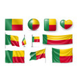 set benin flags banners banners symbols vector image