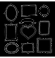 Set of chalk painted doodle frames on a black vector image vector image