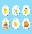 Set of labels with funny easter chickens