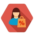 Shopping Girl Flat Hexagon Icon with Long Shadow vector image