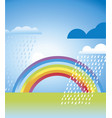 simple rainbow landscape in vivid color vector image vector image