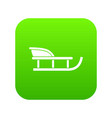 sled icon digital green vector image