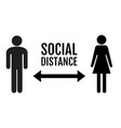 Social distance banner with persons man and woman