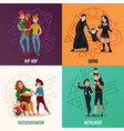 subcultures family cartoon design concept vector image vector image