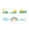 summer forest sun cloud and rainbow natural vector image