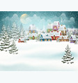 winter village in pine forest vector image vector image