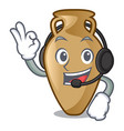 with headphone amphora mascot cartoon style vector image