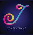 j letter logo icon blending color vector image