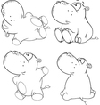A set of hippopotamuses vector image vector image