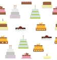 Birthday Cake Flat Icon Seamless Pattern vector image