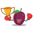 boxing winner plum mascot cartoon style vector image vector image