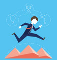 businessman running for achievement the success vector image vector image