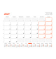 calendar template for 2018 year july business vector image vector image