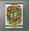 cartoon colorful hand drawn doodles 2020 year vector image
