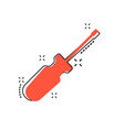 cartoon screwdriver icon in comic style repair vector image