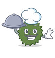 chef with food durian mascot cartoon style vector image