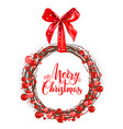 christmas red berry wreath vector image vector image