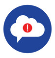 cloud warning icon computing concept vector image