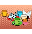 Coffee table with cups vector image vector image