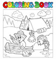 coloring book with scout in boat vector image