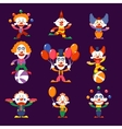 Colourful Clowns Set vector image vector image