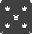 Crown icon sign Seamless pattern on a gray vector image vector image