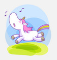 cute little unicorn sticker set vector image