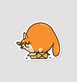 cute very fat cat character hiding in small box vector image
