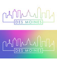 des moines city skyline colorful linear style vector image vector image