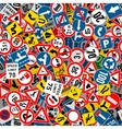 Different road signs seamless pattern vector image