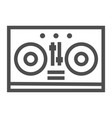 dj mixer line icon music and sound turntable vector image