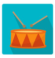 drum a musical instrument icon flat style with vector image vector image