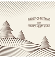 Engraving of Christmas trees on the hills vector image