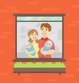 family looking out window happy mother vector image